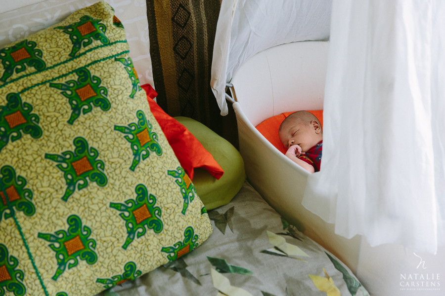 baby boy is sleeping in a Leander hanging cradle | Photographer: Natalie Carstens, nataliecarstens.com