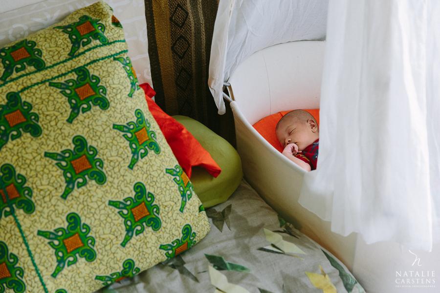 baby boy is sleeping in a Leander hanging cradle | Photographer: Natalie Carstens, nataliecarstens.com